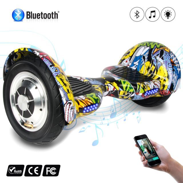 COOL AND FUN - COOL&FUN Hoverboard Bluetooth, gyropode 10 pouces hiphop graffiti design
