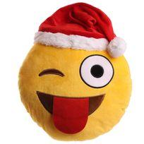 Character World - Peluche Coussin Emoji Clin d'oeil avec Bonnet de Noel