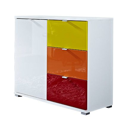 Commode 1 porte blanc 3 tiroirs rouge orange jaune - Rani