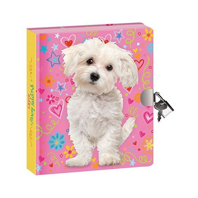 Peaceable Kingdom Puppy Love 625 Lock and Key Lined Page Diary for Kids