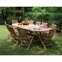 Teck'ATTITUDE - Salon de jardin en teck Ecograde© Timaru, table extensible 1,96 à 2,96 m + 10 chaises Java