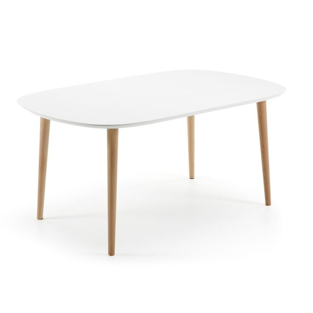 Kavehome Table Oqui extensible ovale 160-260 cm, naturel et blanc