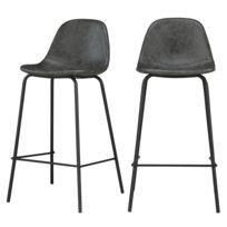 Chaise de bar mi hauteur Henrik grisenoire 65 cm lot de 2