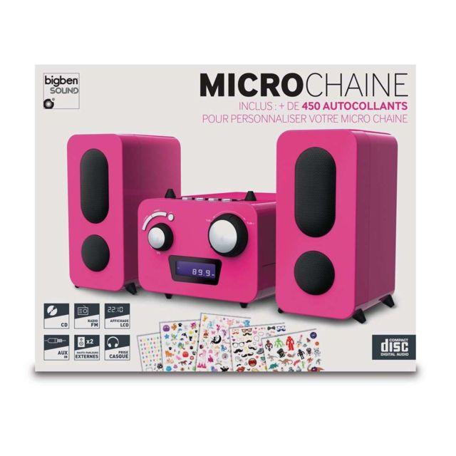 bigben interactive microcha ne enfant rose stickers lecteur cd radio pll fm st r o. Black Bedroom Furniture Sets. Home Design Ideas