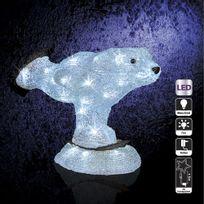 Féérie Lights & Christmas - Décoration de Noël d'extérieur Lumineuse - H. 28 cm - Ours patineur