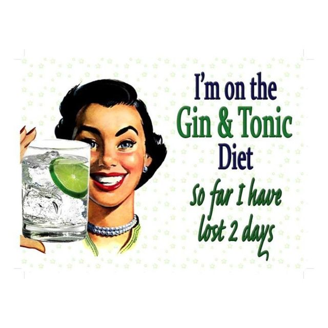 Universel plaque cuisine pin up humoristique gin & tonic diet tole
