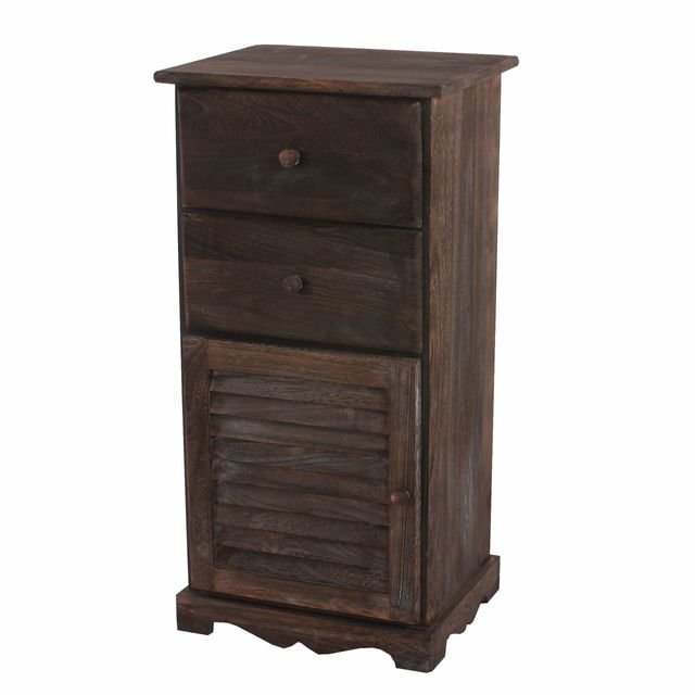 Mendler Commode / armoire, 2 tiroirs, 1 porte, 40x32x80cm, shabby, vintage, marron