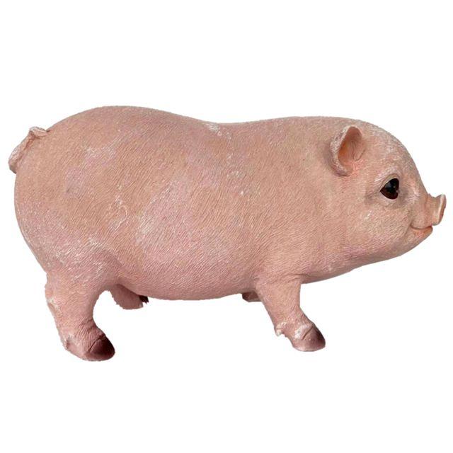 Résine Cochon De Jardin En Plein Air Statue Animale Pelouse Décoration Rose Porc Debout