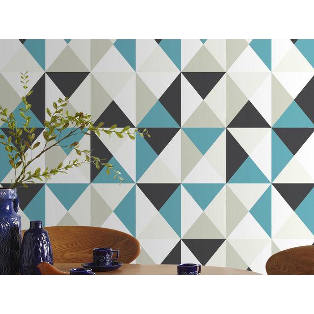 Graham And Brown - Papier peint vinyle expansé intissé motif géométrique 10.05x0.53m Polygone - Bleu 0cm x 0cm