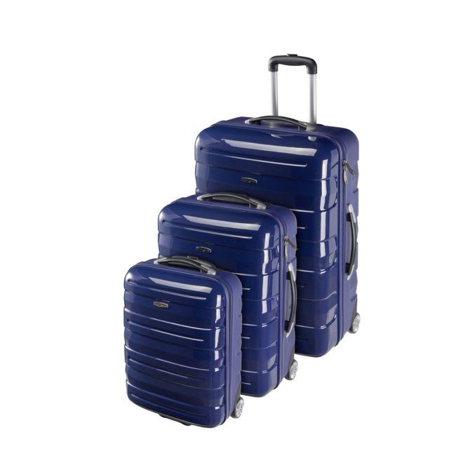 8b5f6e97a7 CARREFOUR - Lot de 3 valises rigides 2 roues - ABS et PC - Bleu marine