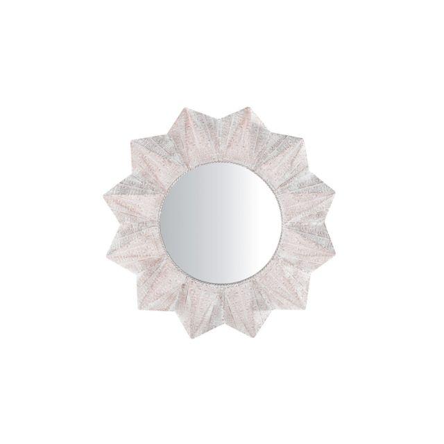 BELIANI Miroir rond blanc et cuivré AVADI - argent