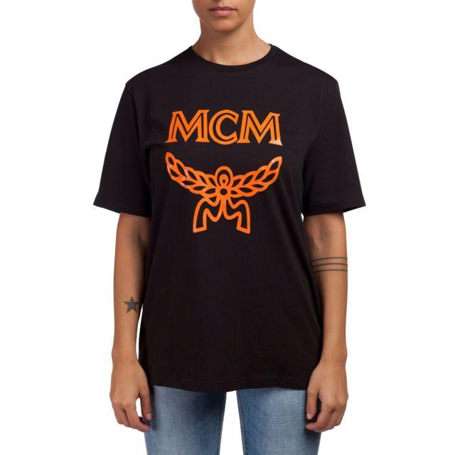 Mcm Femme Mht9AMM01BK00S Noir Coton T-shirt