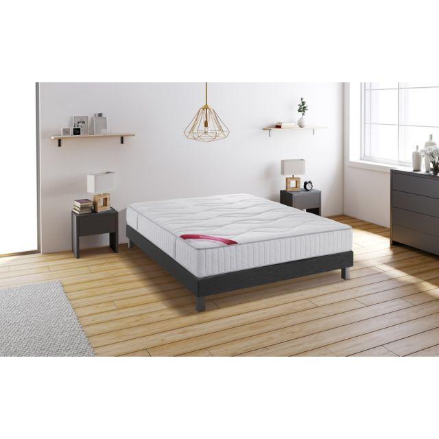 relaxima hemisphere ensemble sommier matelas m moire de forme dunlopillo 140x190 blanc. Black Bedroom Furniture Sets. Home Design Ideas