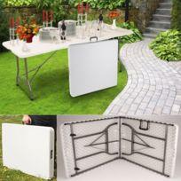 IDMARKET - Table pliante d'appoint portable pour camping ou réception 180 cm