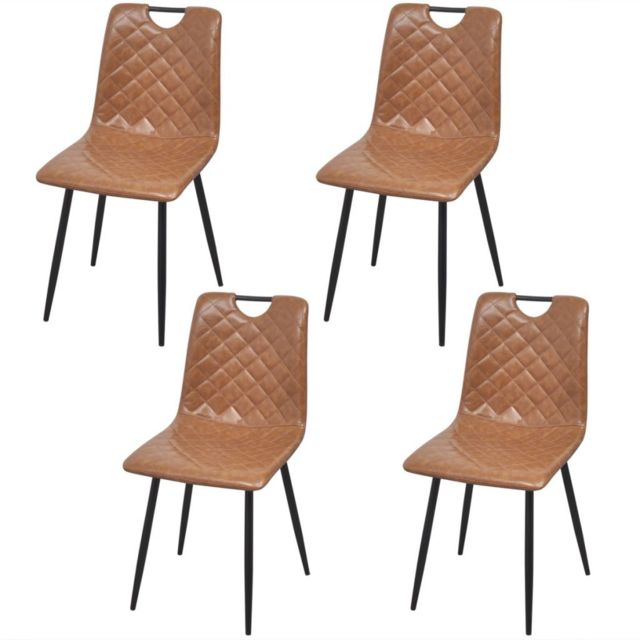 Sans Marque Chaises 4 pcs en cuir artificiel Marron clair