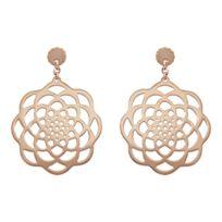 1001BIJOUX - Boucles d'oreille tige acier fleur ronde Pvd rose