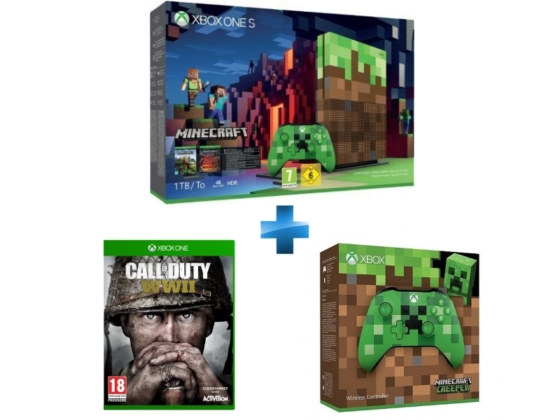 Pack Xbox One S 1To Minecraft Edition Limitée + Call of Duty WWII - Xbox One + Manette Xbox Edition Minecraft Creeper