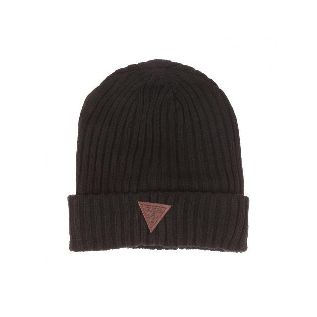 Guess - Bonnet côtelé noir à revers - pas cher Achat   Vente Casquettes,  bonnets, chapeaux - RueDuCommerce 47f86a1964a