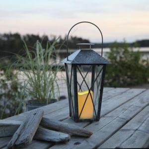 best season lantern lanterne d 39 ext rieur m tal vieilli gris bougie led h31 5cm luminaire d. Black Bedroom Furniture Sets. Home Design Ideas