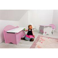 Room Studio - Coffre à jouets en bois H45cm L70cm Nuage - Blanc/Fond rose - Sans Sticker