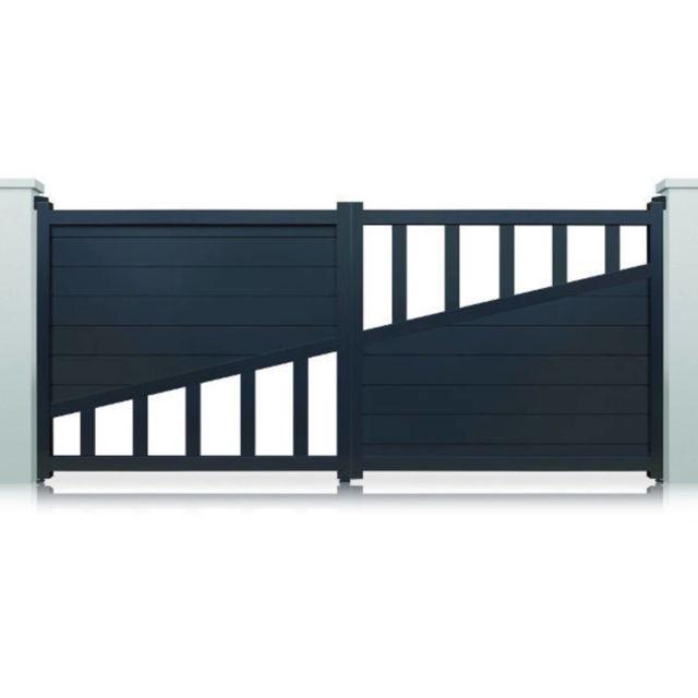 HABITAT ET JARDIN - Portail aluminium Houston motorisé - 3m - Gris - pas  cher Achat   Vente Portail en aluminium - RueDuCommerce 4ce165d0c447