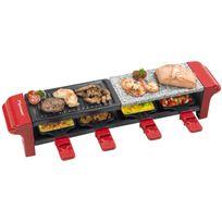 BESTRON - 3 en 1 Raclette, gril et pierre de cuisson avec 4 poêlons - 800W - en rouge
