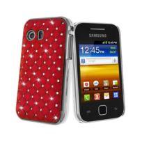 Kabiloo - Coque rigide aspect matelassé rouge toucher gomme avec inserts diamants Galaxy Y S5360