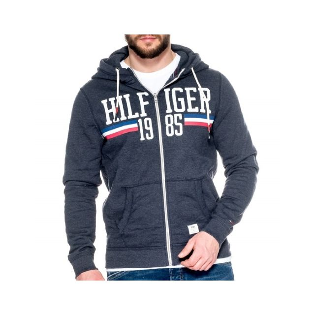 27d8f21b5f7 Tommy Hilfiger - Basic Logo Heather Sweat Zip - pas cher Achat   Vente  Sweat homme - RueDuCommerce