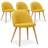 lot de 4 chaises scandinaves cecilia tissu jaune - Chaise Jaune Scandinave