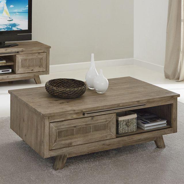 Nouvomeuble Table basse en bois contemporaine Aubin