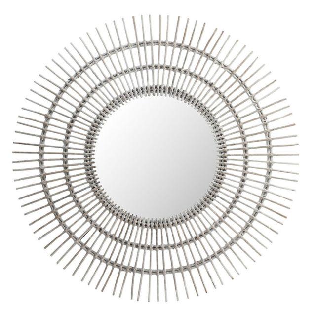Tousmesmeubles Miroir soleil rond Rotin blanc - Mezen