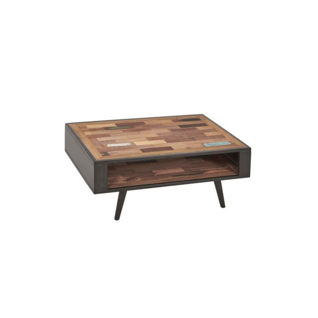 Tousmesmeubles Table basse en bois double plateau - Manhattan