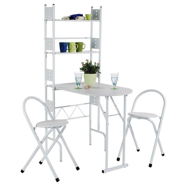 IDIMEX Table de cuisine + tabourets blanc