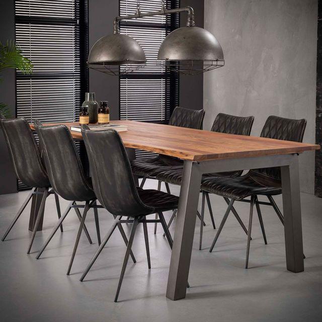 Nouvomeuble Table 210 cm en bois massif et acier Penny