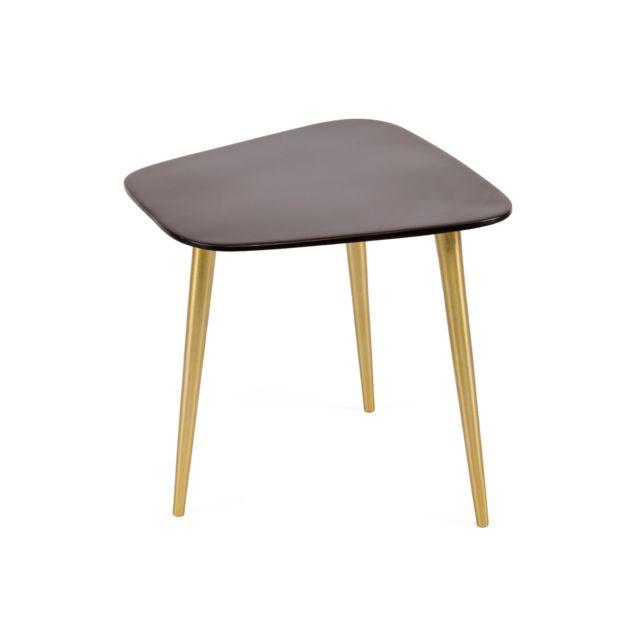 Marque Generique - Table d'appoint en email et laiton brun 36x35x36cm Marron