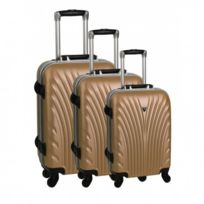 Madison - Madisson Bagage Lot de 3 valises trolley - 4 Roues - Rigide - Fermeture Clips - Champagne