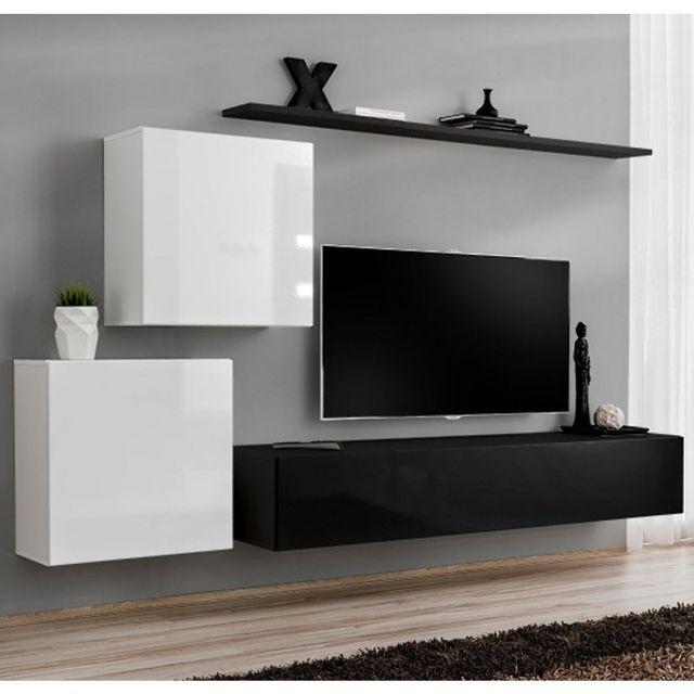 Meuble Tv Mural Design Switch V 250cm Blanc Noir