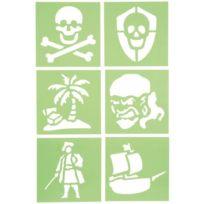 """Dtm - pochoirs en plastique """"pirates"""", 15 x 15 cm - paquet de 6"""
