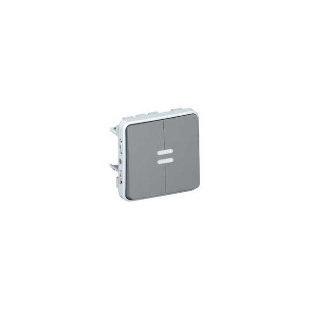 Legrand - bouton poussoir double lumineux - plexo 55 - gris - composable