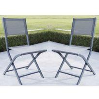 Wilsa - Lot de 2 chaises de jardin Pliantes Modulo Grise