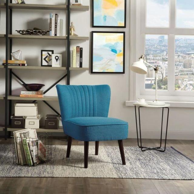 FAUTEUIL NOLA Fauteuil pieds bois -Tissu bleu - L 59 x P 70 x H 72 cm