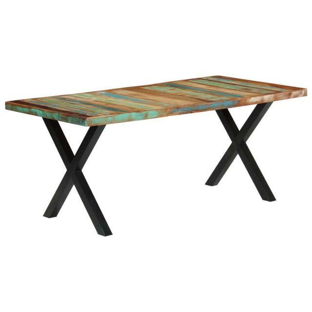 Chic Tables ligne Bratislava Table de salle à manger 180x90x76cm Bois de récupération solide