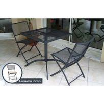 Dcb Garden - Guéridon perforé et 2 chaises assorties