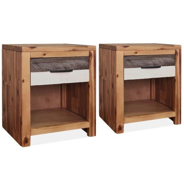 Vidaxl Tables de chevet 2 pcs 40 x 30 x 48 cm Bois d'acacia massif