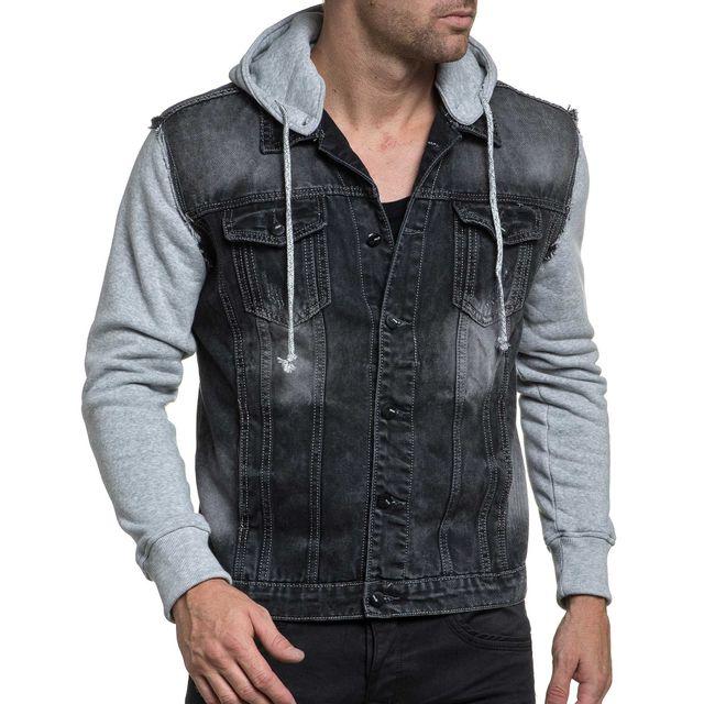 blz jeans veste homme styl en jean noir d lav et manche grise xs s pas cher achat vente. Black Bedroom Furniture Sets. Home Design Ideas