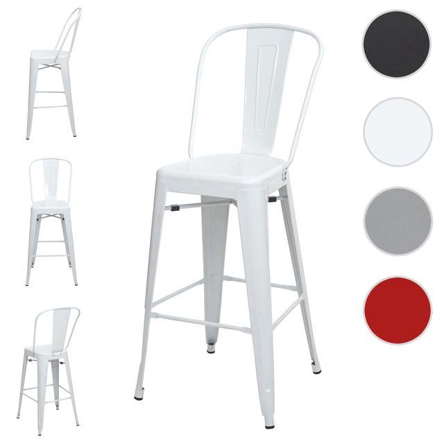 Mendler 4x tabouret de bar Hwc-a73, chaise de comptoir avec dossier, métal, design industriel ~ blanc