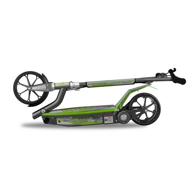 """UBERSCOOT S100 Trottinette électrique verte et noire S100 - Trottinette électrique - Cadre noir et plateforme verte- Taille des roues : 8"""" - Autonomie : 40min max - Pliable, peu de montage - Puissance moteur : 100W / 24V - Poids : 14kg -"""
