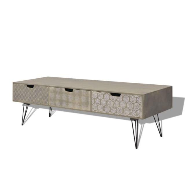 Helloshop26 Meuble télé buffet tv télévision design pratique avec 3 tiroirs 120 cm gris 2502098