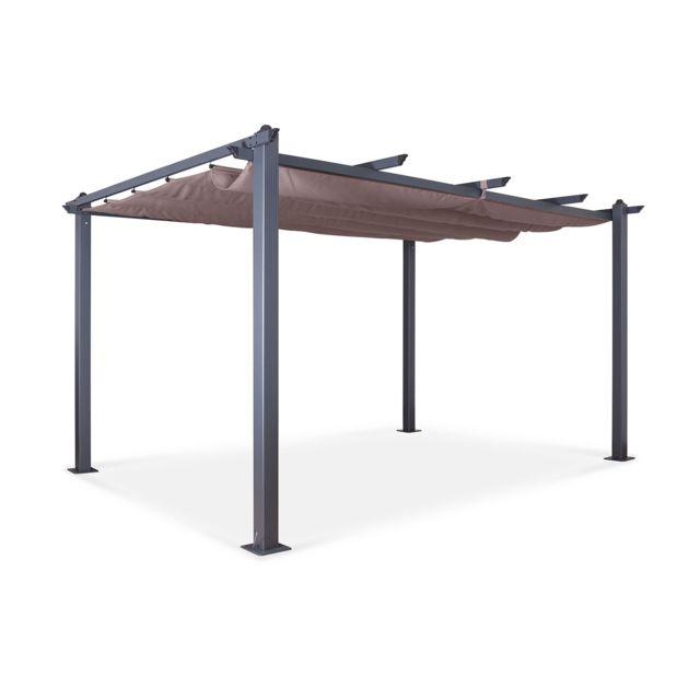 Tonnelle Pergola Aluminium 3x4m Toile Coulissante Rétractable Gris Taupe Hero Xl