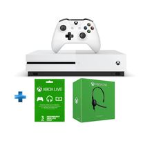 MICROSOFT - Pack Xbox One S 500GO nue + abo 3 mois + casque filaire